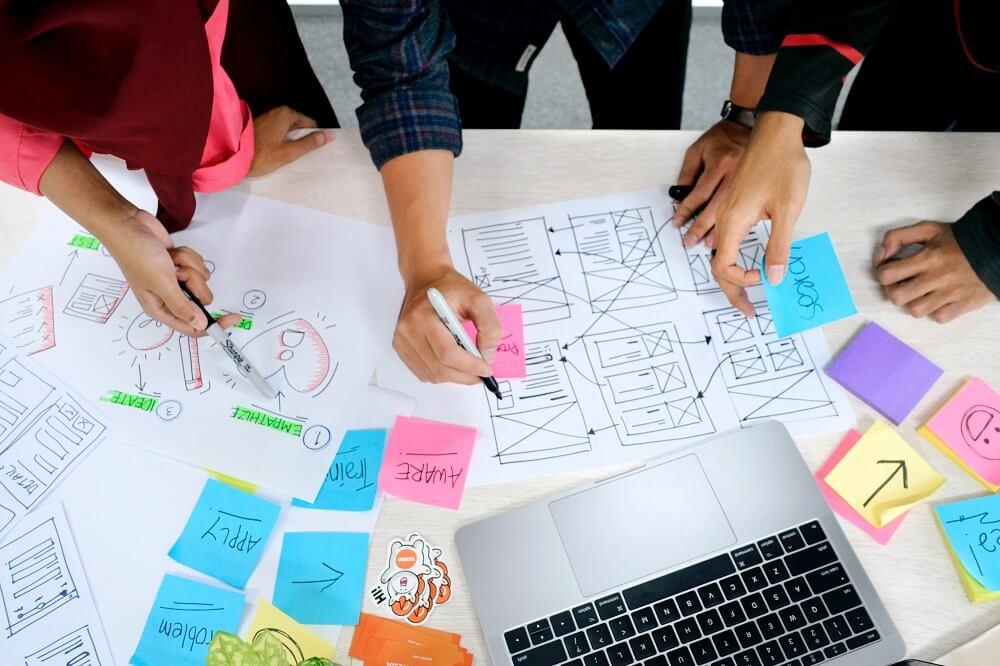Gruppe arbeitet mit der Methode Design Thinking